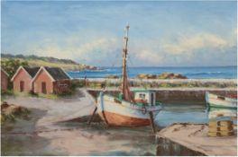"""Bendken, Louis """"Küstenlandschaft mit Fischerboot"""", Öl/Lw., sign. u.l., 67x97 cm, Rahmen"""