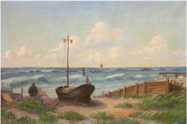 """Käster, A.B. """"Fischer lauscht dem Meeresrauschen"""", Öl/Lw., sign. u.l., 67x97 cm, Rahmen"""