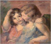 """Porträt zweier Kinder"", Öl/Lw., undeutl. sign.u.r., 45x45 cm, Rahmen"