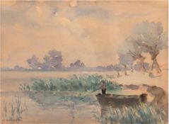 "Wickert, Georg (1886 Gleiwitz-1940 Lübeck) ""Angler im Boot"", Aquarell, sign. u.l.,24,5x30,5"