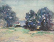 """Landschaftmaler 1. H. 20. Jh., """"Baumbestandene Sommerlandschaft"""", Aquarell, unsign., 33x39cm"""