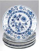 7 Teller, C.Teichert, Zwiebelmuster, 1x bestoßen, 1x Bodenspinne, Dm. 21 cm