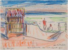 """Ditscher, Otto (1903 Neuhofen, Pfalz-1987 ebenda) """"Strandtag in Scharbeutz"""",Farbkreide/Papier"""