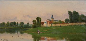 """Delpi, Jacques Henri (1877 Bois de Roi-1957 Paris) """"Wäscherinnen an der Seine"""", Öl/Lw.,sign"""
