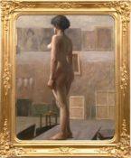 "Hollosy, Simon (1857-1918) zugeschrieben ""Aktmodell im Atelier"", Öl/Lw., unsign.,doubliert,"