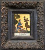 "Hinterglasbild 20. Jh. ""Heiliger Hubertus"", 11,5x9 cm, Rahmen"