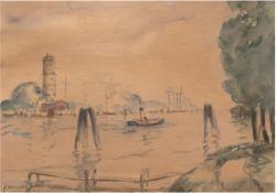 """Wickert, Georg (1886 Gleiwitz-1940 Lübeck) """"Hafen von Travemünde mit Leuchtturm"""",Aquarell,"""
