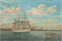 """Bogo, Christian (1882 Kopenhagen-1945 ebenda) """"Dreimaster und Marineboot vor Hafeneinfahrt"""", Öl/"""