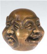 Buddhakopf mit 4 Gesichtern, Bronze, gemarkt, stellt 4 Stimmungen dar, Freude,Traurigkeit, Wu