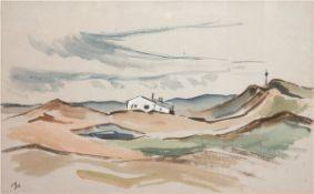 """Landschaftsmaler des 20. Jh. """"Dünenlandschaft auf Sylt"""", Aquarell, monogr. u.l., 40x60 cm,hi"""