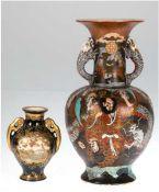 2 Satsuma-Vasen, Japan, Meiji-Periode, 1x mit Drachenhenkel, figürliche Darstellung aufbrau