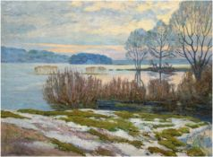 "Hermann, Willy (1895 Berlin-1963 ebenda) ""Februarmorgen am Stößelsee"", Öl/Lw. sign. u.r.,v"