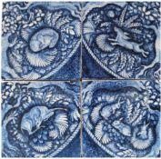 4 Kacheln, um 1930, Siegfried Möller, Kunsthochschule Bremen, mit blauer und weißerTiermale