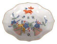 Meissen-Schälchen, Fliegender Fuchs, bunt mit Kupferfarben, Goldrand, 1. Wahl,Vierpaßform,