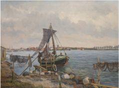 """Djelbo, Jens """"Kerteminde-Fischerboot mit Fischernetze"""", Öl/Lw., sign. und dat. 1934 u.l.,"""