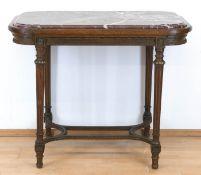 Tisch, um 1900, Eiche, kannelierte verstrebte Beine, Zarge mit bronziertenStuckverzierungen,