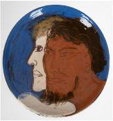"""Künstler-Teller """"Porträt zweier Herren"""", Keramik, unterseitig sign. """"Henninger"""" und dat.195"""