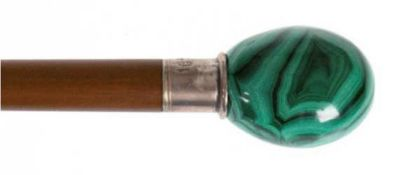 Spazierstock, mahagonifarbenes Holz, Malachit-Knauf auf 925er Silbermontierung, L. 97 cm