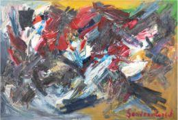 """Lorsch, Sandro von (1919 Hamburg-1992 Hamburg) """"Farbenfrohe abstrakte Komposition"""",Öl/Lw., p"""