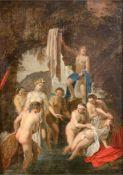"""Altmeister des 17. Jh. """"Diana entdeckt die Schwangerschaft der Nymphe Callisto"""", Öl/Holz,un"""