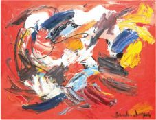 """Lorsch, Sandro von (1919 Hamburg-1992 Hamburg) """"Abstrakte Komposition auf rotem Grund"""",Öl/Lw"""