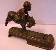 Spardose, Jockey auf Pferd, Metall, ca. 26 x 20 cm