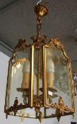 Hängelampe, Messing/ Glasscheiben, Höhe ca. 47, 23 x 23 cm