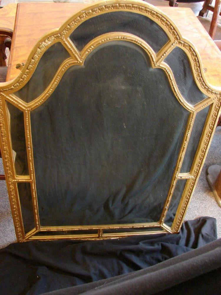 Spiegel, Holz, mit Facettenschliff, ca. 77 x 105 cm, Gebrauchsspuren