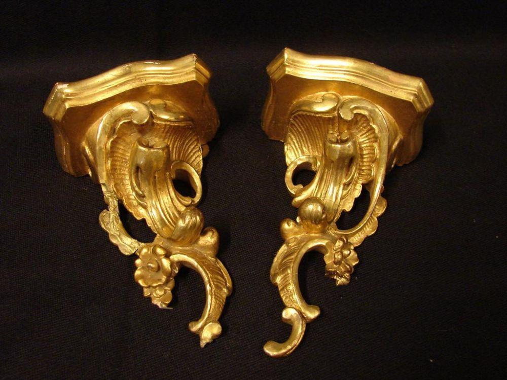 Paar Wandhalter, Goldfarbend, Höhe ca. 13,5, B. 9 cm