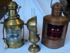 4 Schiffslampen, umgebaut (teils elektrifiziert), Messing, Kupfer, eine Petroleumlampe, Kein