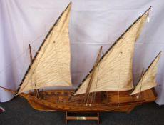 """Holzsegelmodellschiff, Dreimaster, """"CHEBEC"""", guter Zustand, Länge ca. 112 cm, Keine Postversand ..."""