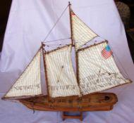 """2 Holzsegelmodellschiffe; Dreimaster, """"Cutty Sark 1870"""", L.ca. 86 und """"America 1851"""", L. 62 cm,"""