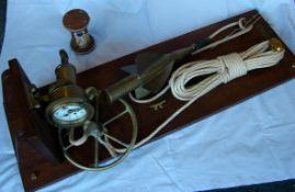 Schiffs-Log, Messgerät, auf Holzbrett, Länge ca. 94 cm, Kein Postversand möglich Schiffs-Log,