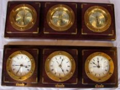 Schiffsuhren, Messing, Thermometzer, Hygrometer, Barometer, auf Holzbrett,, ca. 19x53 cm