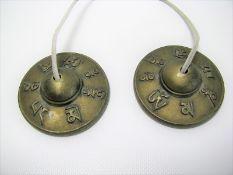 Paar Tingsha-Glocken, Tibet/Nepal, Bronze, d 7,5 cm.