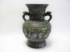 Cloisonné Vase, Japan, Meiji Periode, 1868 - 1912, Bronze mit farbigem Cloisonné, Bodensign., h 24,5
