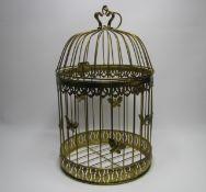 Vogelkäfig, Blech vergoldet, h 50 cm, d 23 cm.