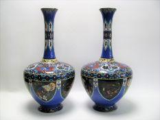 Paar Cloisonné Vasen, Japan, Meiji Periode, 1868 - 1912, vielfarbiges Cloisonné, Füße leicht