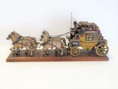 """Modell-Kutsche, 19. Jahrhundert, """"Regensburg-Hof"""", Holz geschnitzt und farbig bemalt, 19 x 48 x 11"""