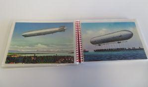 Sammelmappe mit ca. 50 Zeppelin-Postkarten u.a.