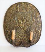 Wandblaker, 1. Hälfte 19. Jahrhundert, Messingblech getrieben, 45 x 38 x 8,5 cm.