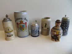 Konvolut von 6 diversen Bierkrügen.