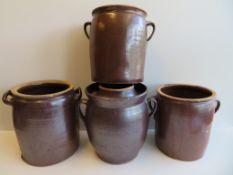 4 diverse Tongefäße, um 1900, bräunliche Glasur, höchste h 28 cm.
