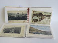 """2 Sammelmappen mit 92 diversen alten """"Gruß-aus-Karten"""","""
