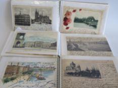 3 Alben mit ca. 123 diversen Ansichtskarten.
