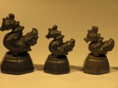 6 teiliger Satz Opiumgewichte, Burma, 19. Jahrhundert, in Form von Enten, h 2,5