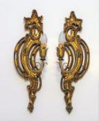 2 Wandlampen, Barockstil, einflammig, vergoldet, 55 x 19,5 x 11 cm.