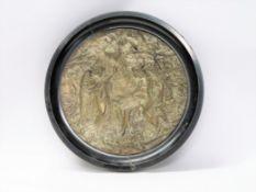 """Plakette """"Adam und Eva im Paradies"""", um 1900, Kupfer versilbert, verso Etikett"""