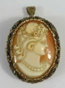 Pendant/brooch with shell cameo in filigree silver setting, c. 1890