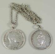 2 silberne Münzanhänger und eine 835er Silberkette, Gesamt-Gew.50,05g; Siegesthaler 1871 und
